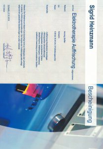 Zertifikat Elektrotherapie