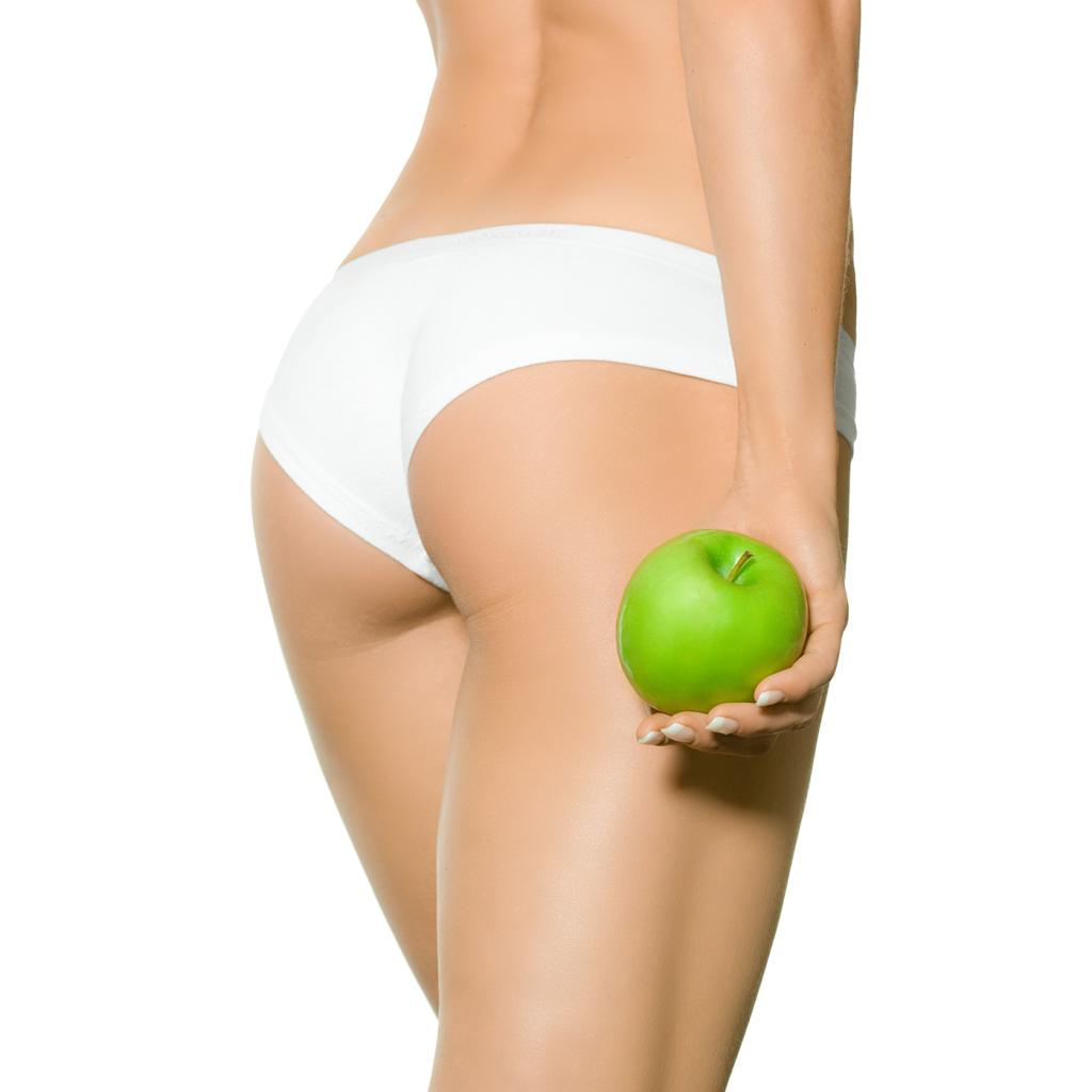Frau mit gruenem Apfel